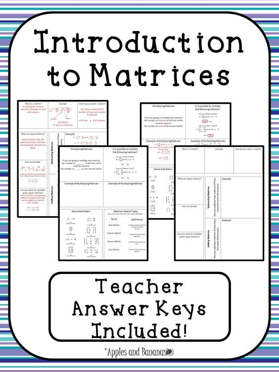 Introduction To Matrices Interactive Notebook Activities Matrices Math College Algebra Interactive Notebook Activities