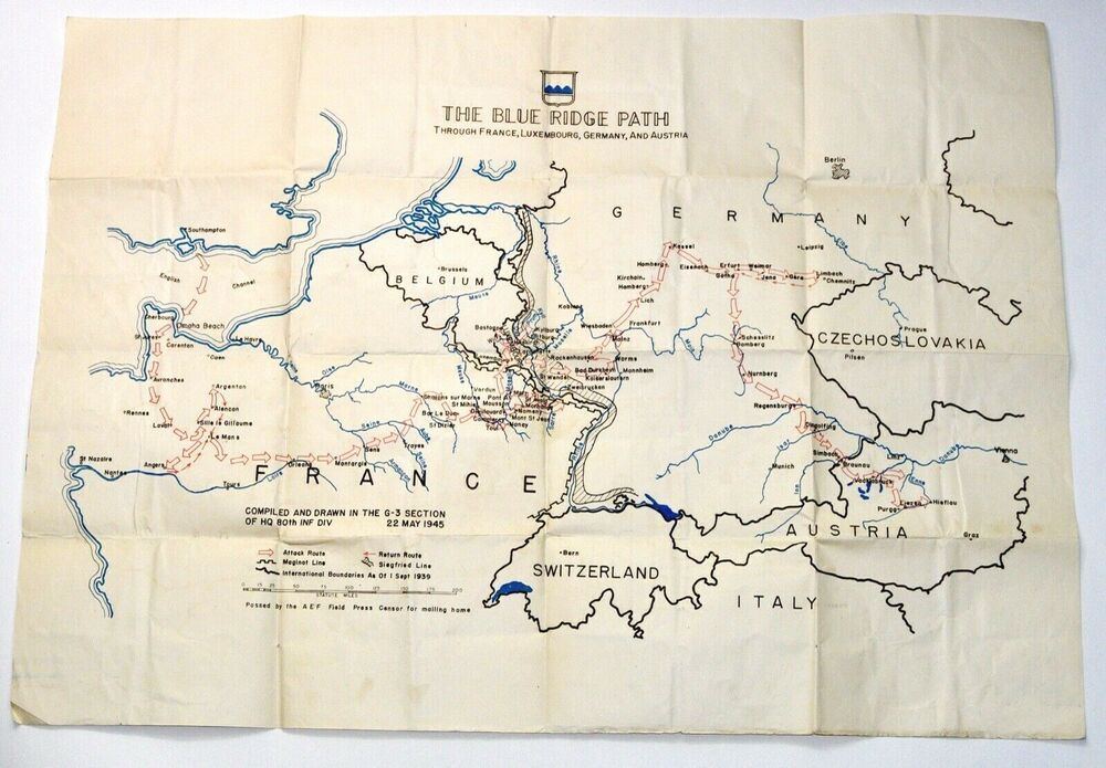 Map Of Germany And Luxembourg.Details About 1945 Wwii Map 80 Infantry Blue Ridge Attack Points