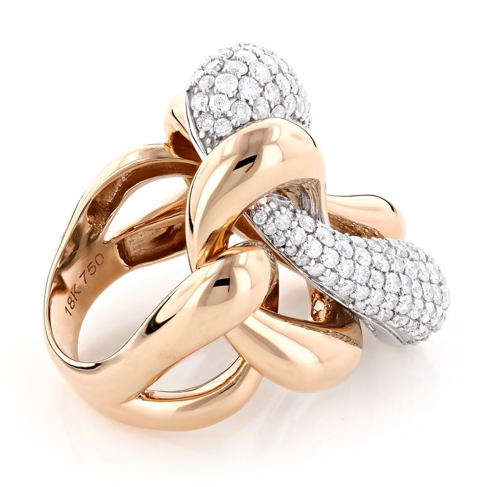 two rings designer pin gold cocktail tone diamond and ring