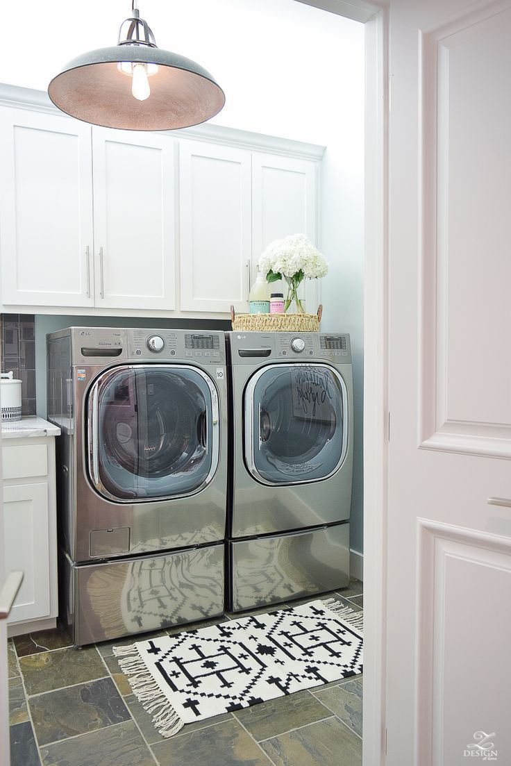Laundry room ideas stainless LG washer and