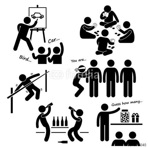 Vektor Party Recreational Games Clipart Strichm Clipart Grafik