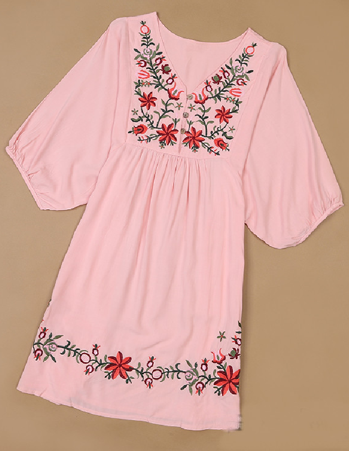 Pink Embroidery Floral Shift Dress