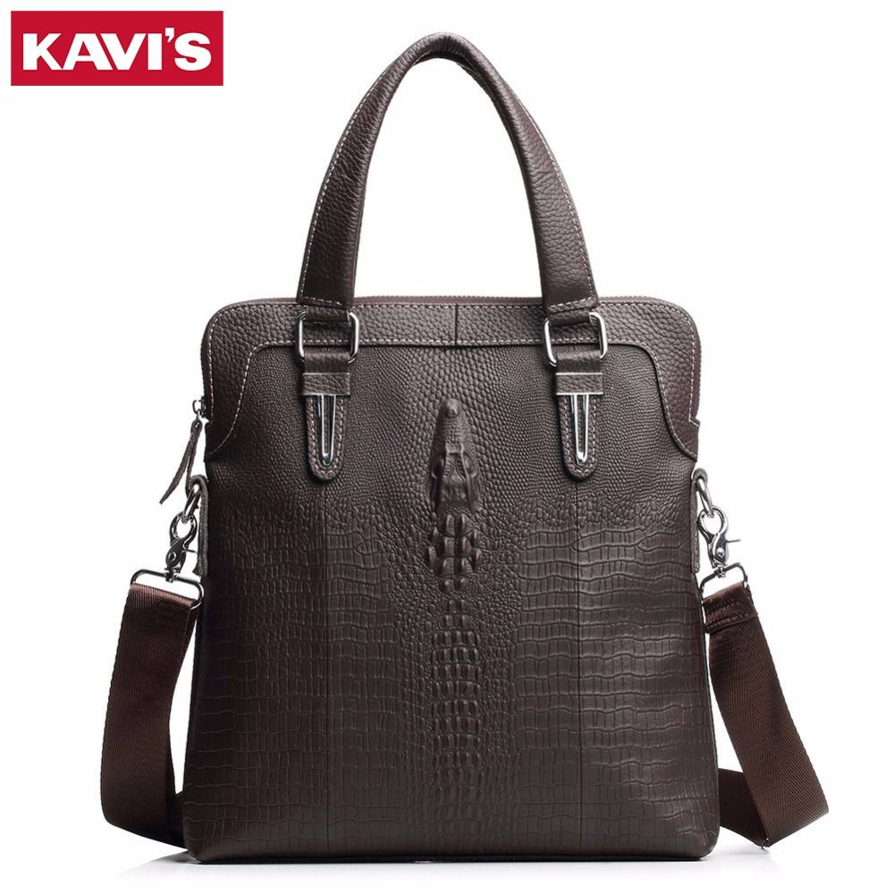c9150068550f KAVIS 100% Top Genuine Leather Brand Cowhide Business Men Messenger Bag Male  Portable Laptop Casual