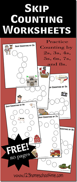 Skip Counting Worksheets - Counting by 2s, 3s, 4s, 5s, 6s, 7s, and ...