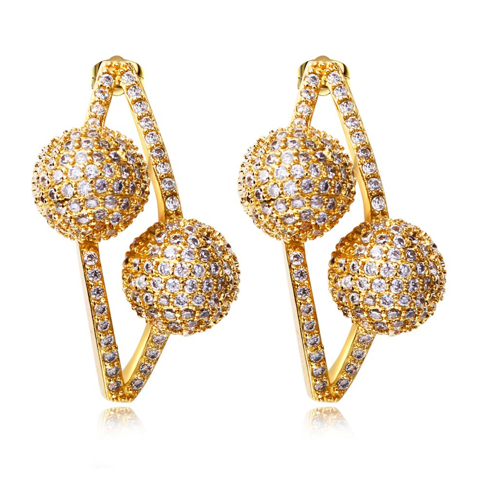New Design Fine Jewelry Sweet Earrings For Girl Gold Color Plating Cubic  Zircon Womens Casual Fashion