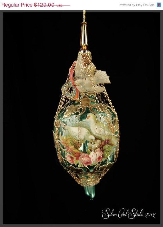 SALE Victorian Christmas Ornament Sweetheart by SilverOwlStudio, $96.75 - Victorian Christmas Ornament - Sweetheart Doves |Victorian