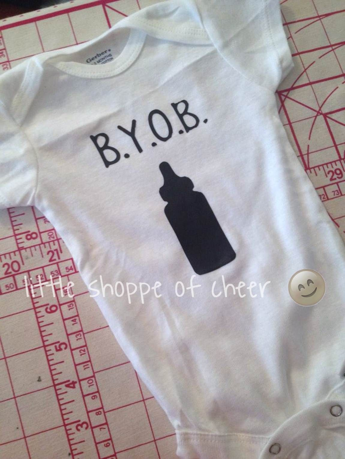 BYOB onesie for baby Logan #littleshoppeofcheer
