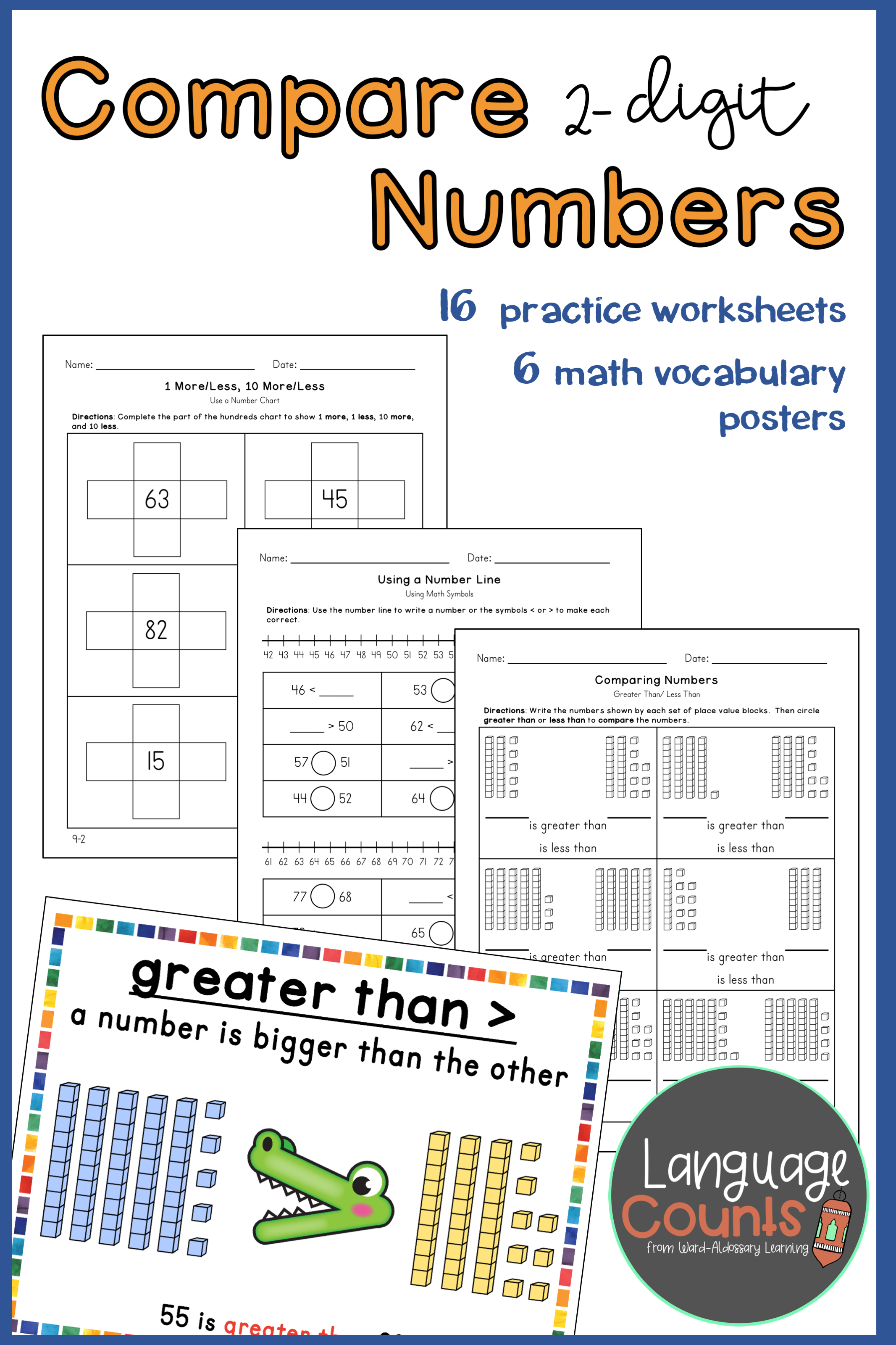 Comparing Numbers and 10 and 1 more/less- 1st Grade   2nd grade worksheets [ 3200 x 2133 Pixel ]