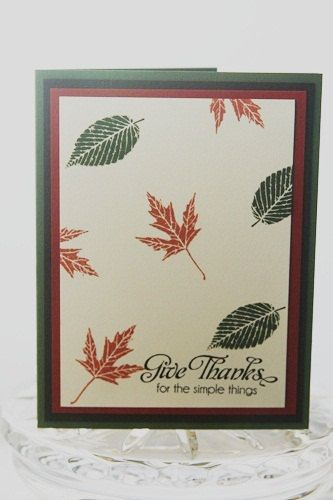 Falling Leaves Give Thanks Hand Made by LaurasPaperCreations