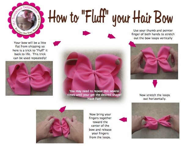 "Simple way to ""Fluff"" a hair bow!"