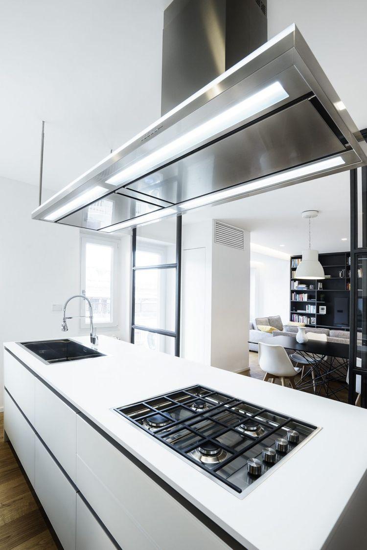 raumteiler glas stahl küche kücheninsel weiss schlicht ...