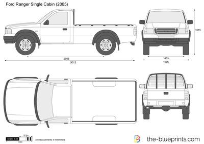 Ford Ranger Single Cabin Vector Drawing Ford Ranger Ranger