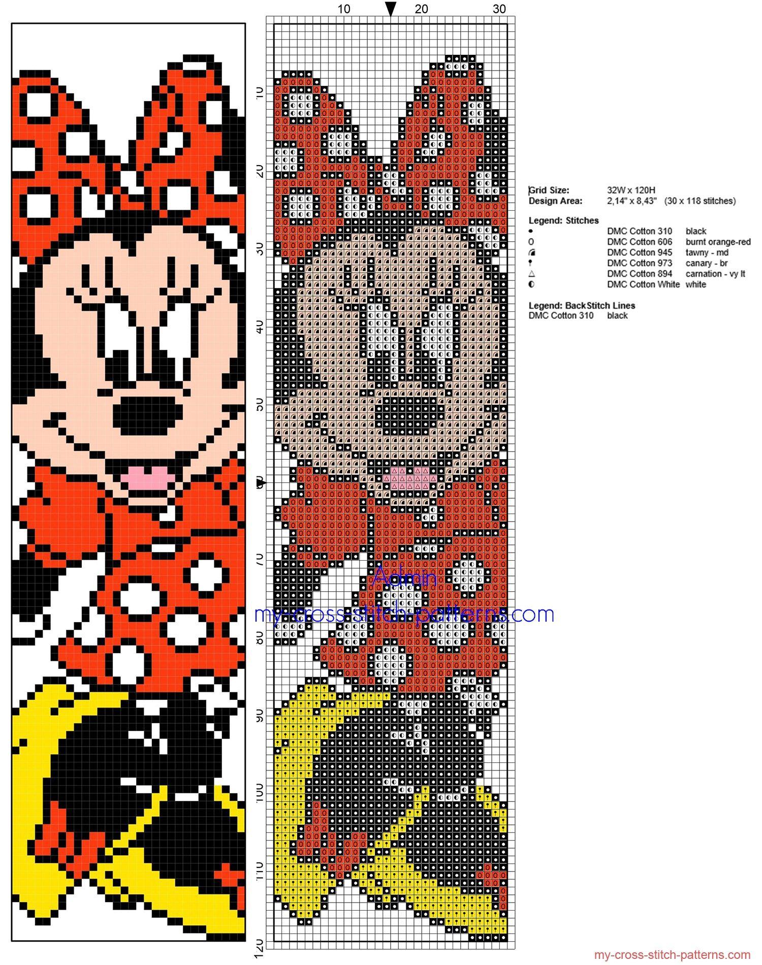Cross stitch children bookmark with Disney Minnie Mouse #stitchdisney