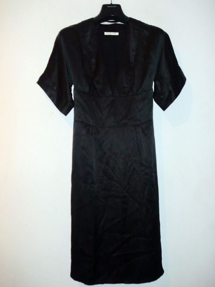 M By MADONNA FOR H & M BLACK MULBERRY SILK KIMONO DRESS 30 s 70 s UK ...