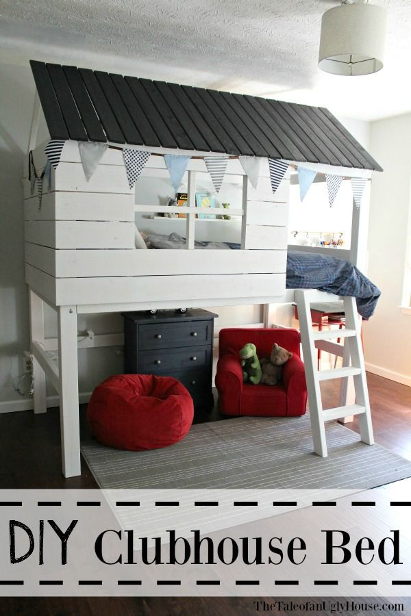 Diy Clubhouse Fort Bed For Under 200 Free Building Plans House Beds For Kids Diy Kids Bed Loft Bed Diy Plans