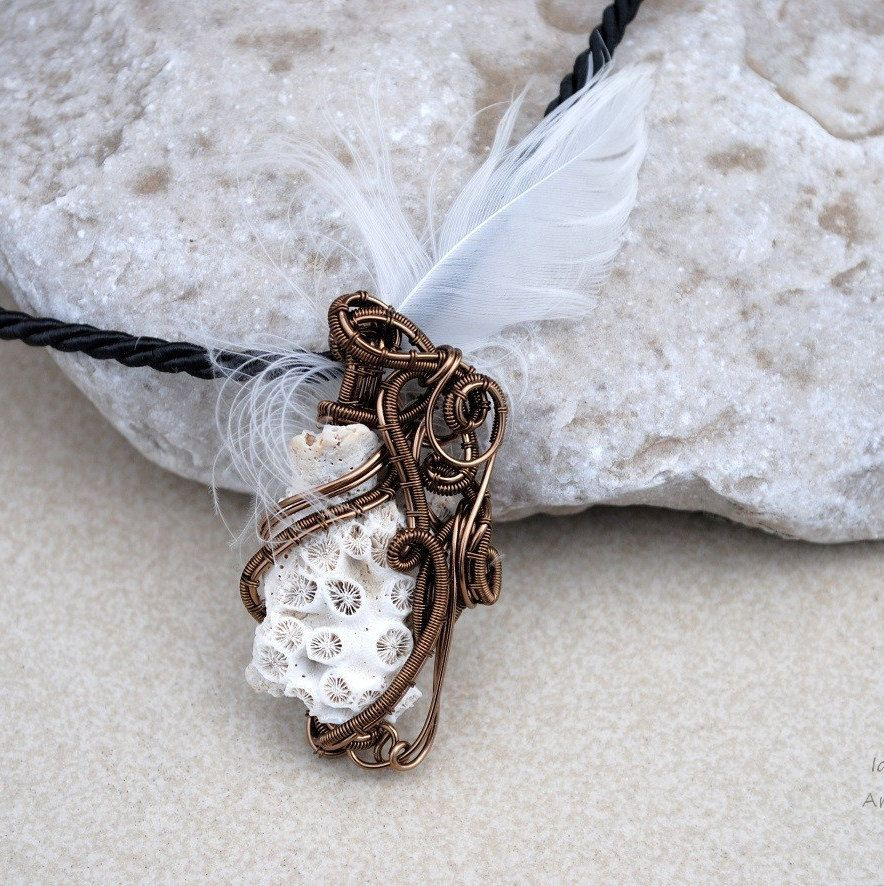 Shell with feather wire wrapped steampunk pendant - OOAK by Ianira on Etsy