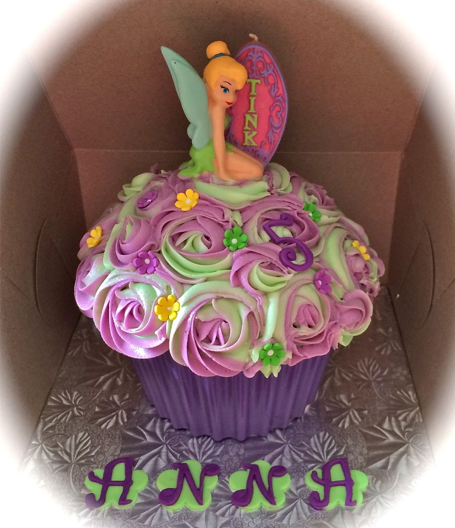 Tinkerbell Giant Cupcake  on Cake Central #giantcupcakecakes