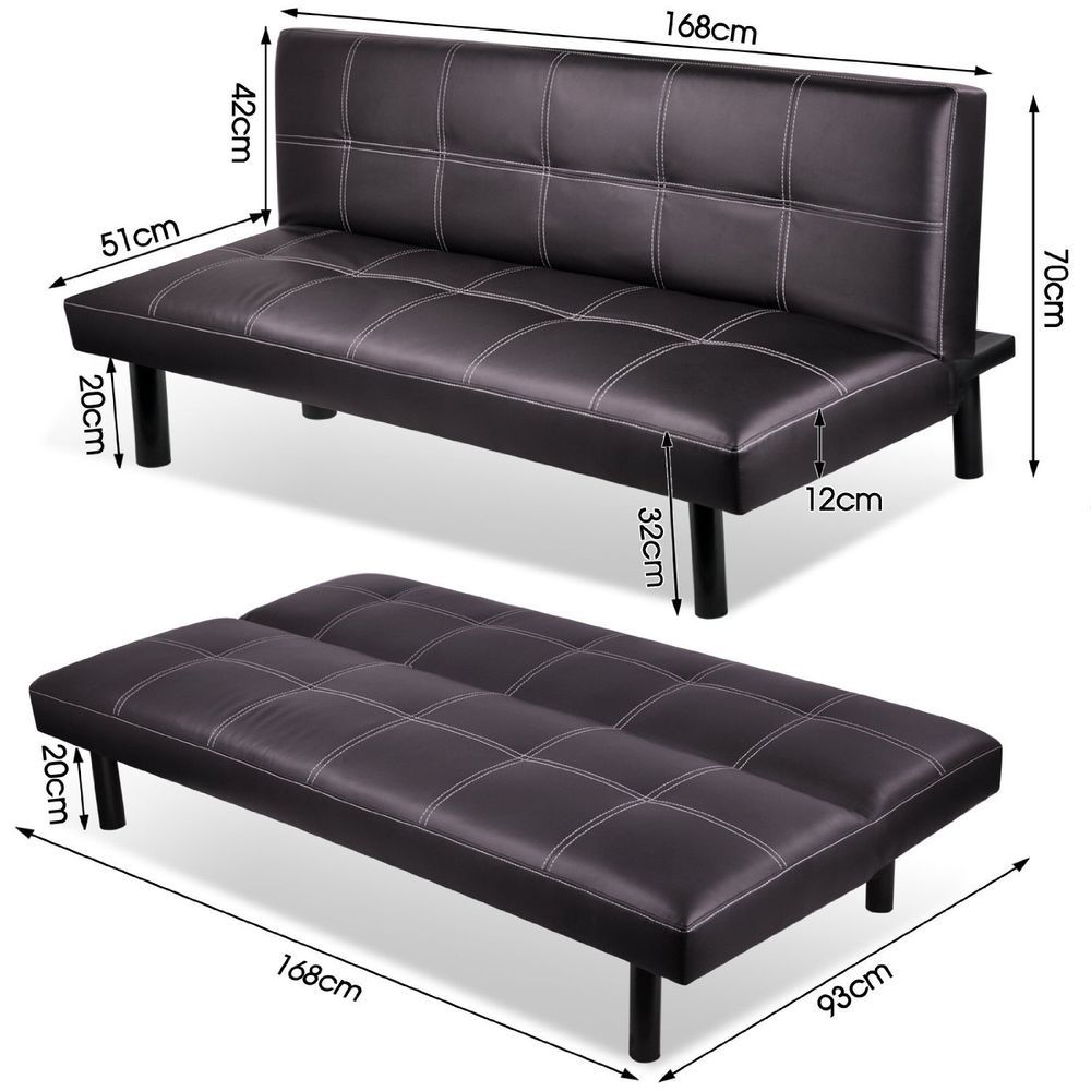 3 Seater Modern Pu Leather Sofa Bed Fold Down Living Room