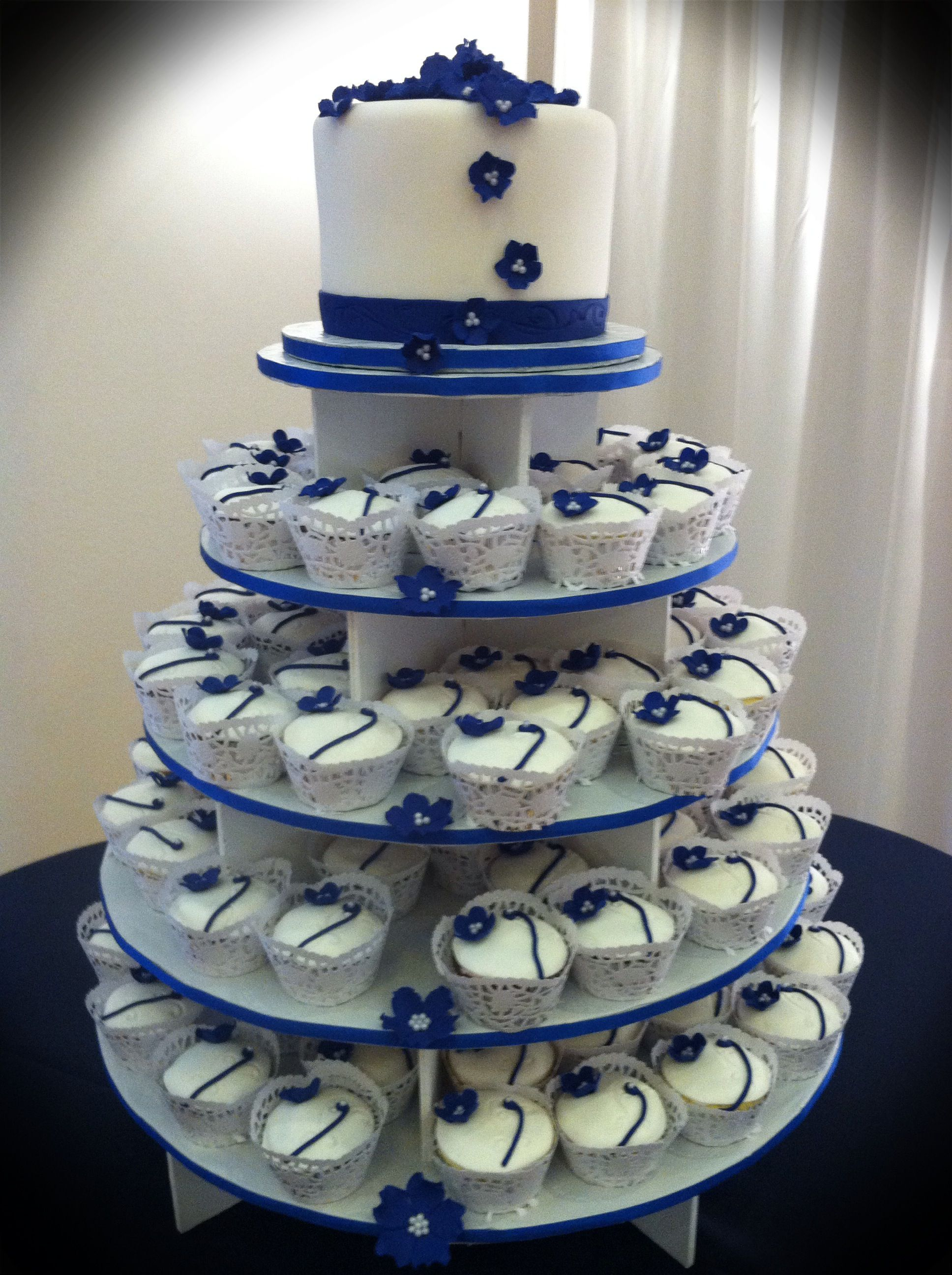 Blue And White Wedding Cupcakes Navy Retro Board