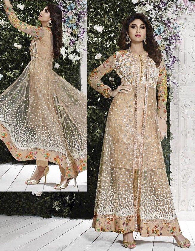 #PakistaniSalwarKameez - Beige Net Narrow Pant Designer ...