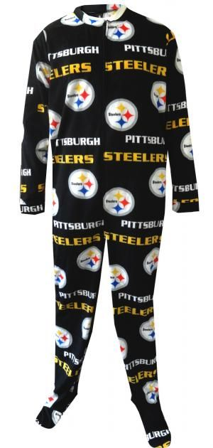 WebUndies.com Pittsburgh Steelers Mens Onesie Footie Black Pajama ... ae90fc072
