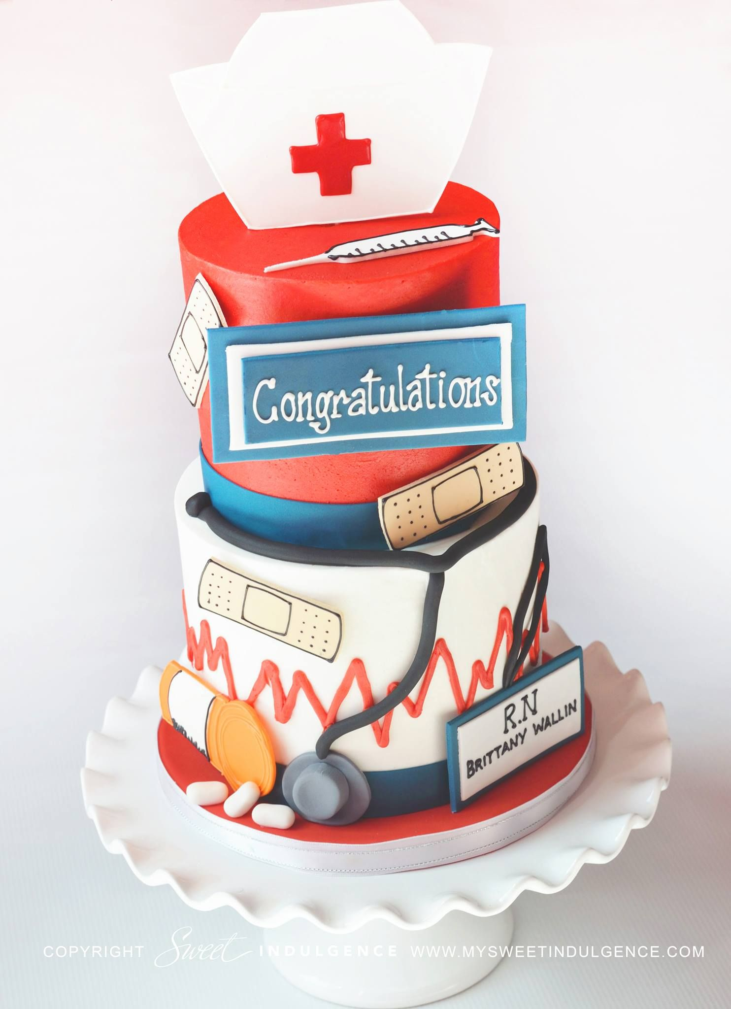 Medical themed cake by Sweet Indulgence..Don't forget some personalized congratulation napkins to go with this amazing cake. www.napkinspersonalized.com