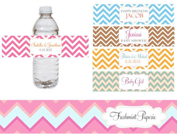 54af7a4b5b Printable water bottle labels - Chevron water bottle labels - Chevron theme  - Chevron labels - Freshmint Paperie