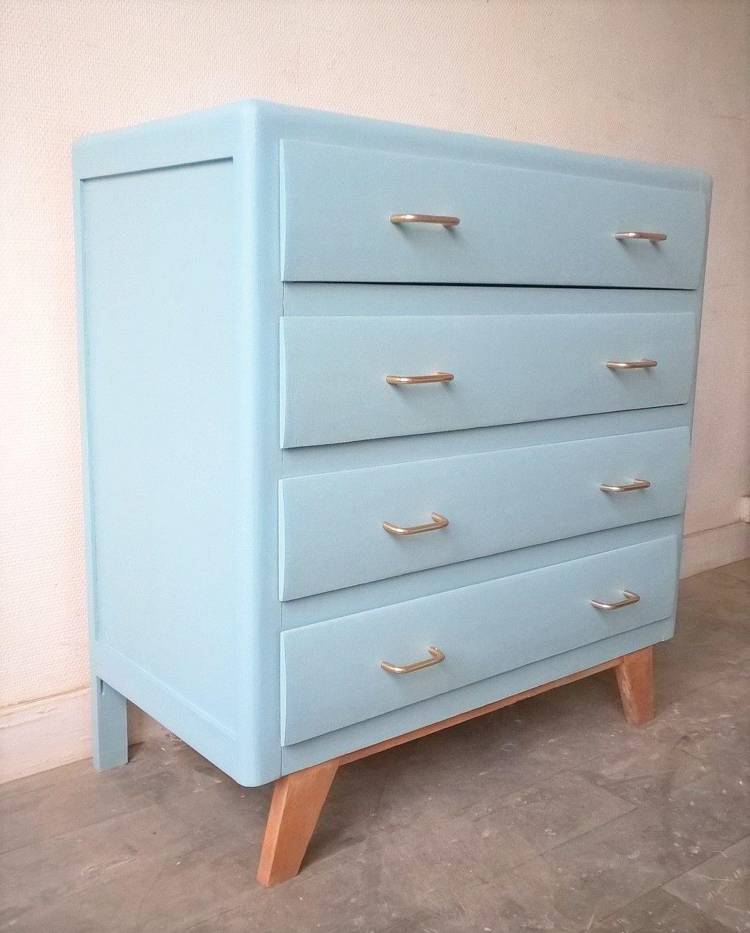 commode vintage des ann es 50 repeinte en bleu meubles vintage. Black Bedroom Furniture Sets. Home Design Ideas