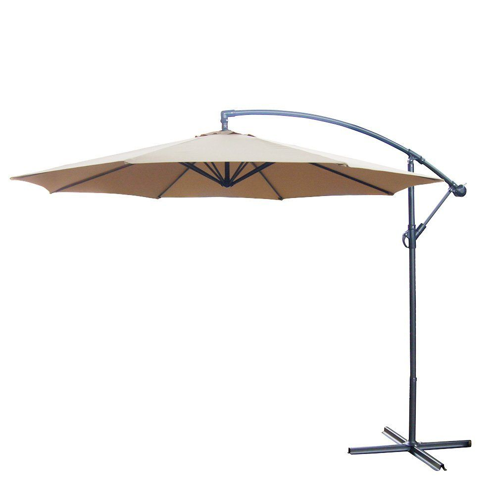 Marvelous 10 Foot Offset Backyard Patio Umbrella Tan Polyester Outdoor Aluminum Crank  * Learn More By Visiting The Image Link.
