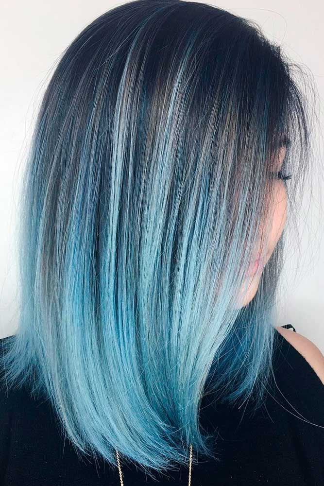 30 Easy New Medium Hair Styles With Images Blue Ombre Hair