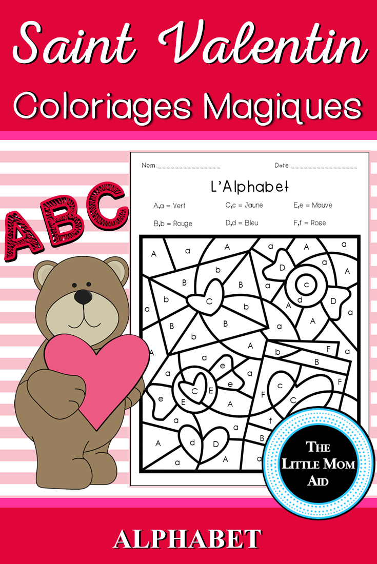 french valentine s day color by letter coloriages magiques st valentin all kindergarten tpt. Black Bedroom Furniture Sets. Home Design Ideas