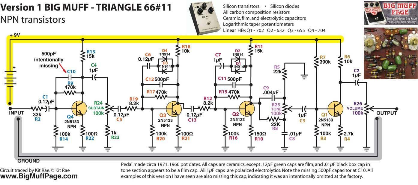 big muff pi versions and schematics pedalboard circuit evolution electronic schematics guitar [ 1394 x 619 Pixel ]