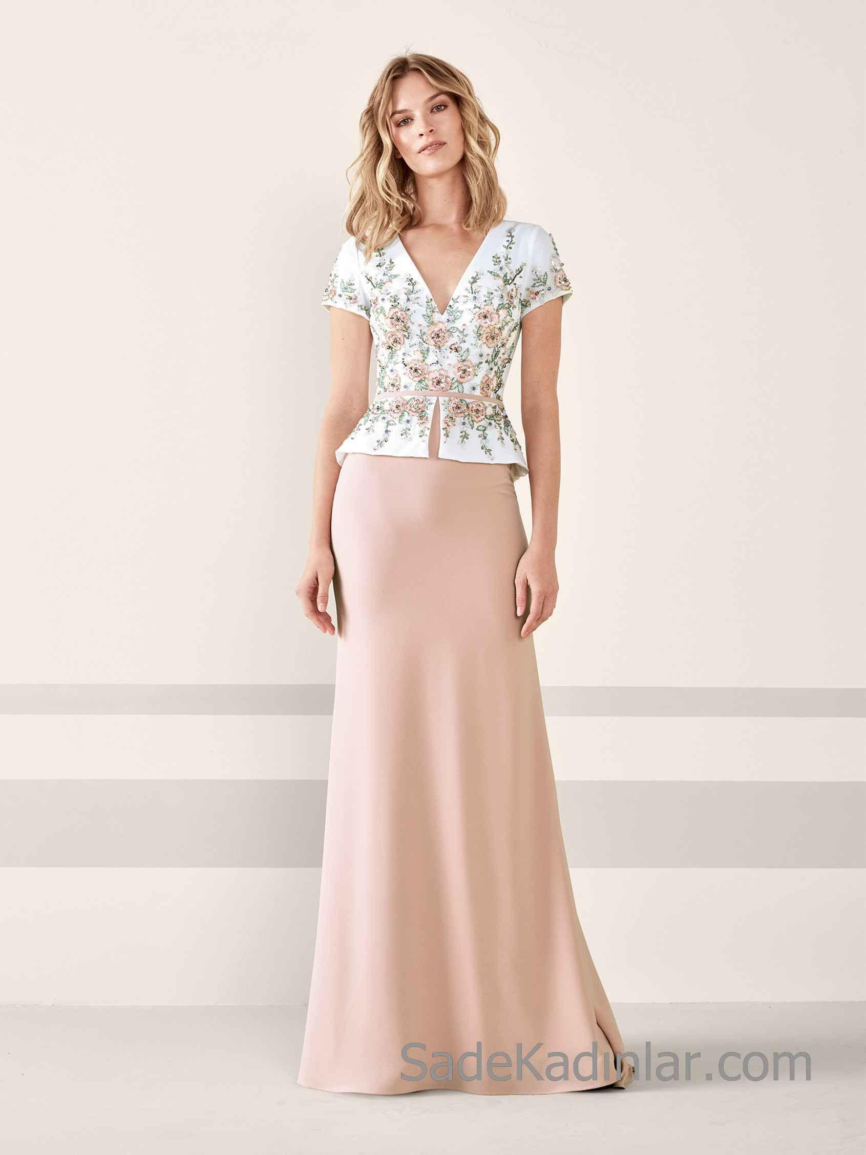 Pronovias 2020 Abiye Elbise Modelleri Pudra Iki Parca Kisa Kollu V Yakali Cicek Aplik Suslu The Dress Kisa Etekli Elbiseler Aksamustu Giysileri