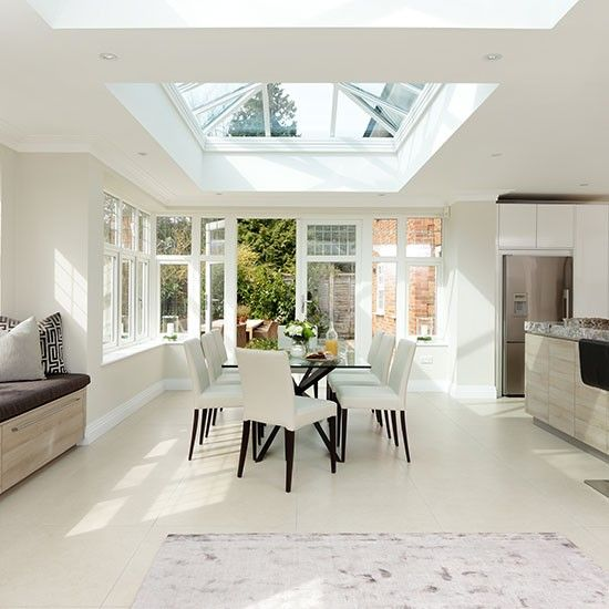 White dining room with skylight beautiful kitchen for Modern dining area ideas