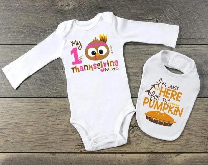 Personalized My First Thanksgiving Outfit for Baby Girl Turkey One Piece and Bib Set