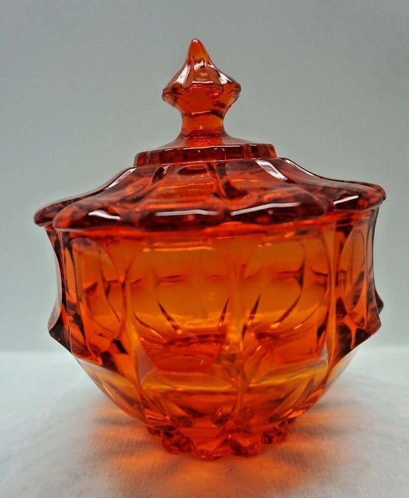 Vintage Fenton Glass Valencia Candy Dish W Lid Tangerine Orange Amberina Ebay Fenton Glassware Fenton Glass Candy Dishes