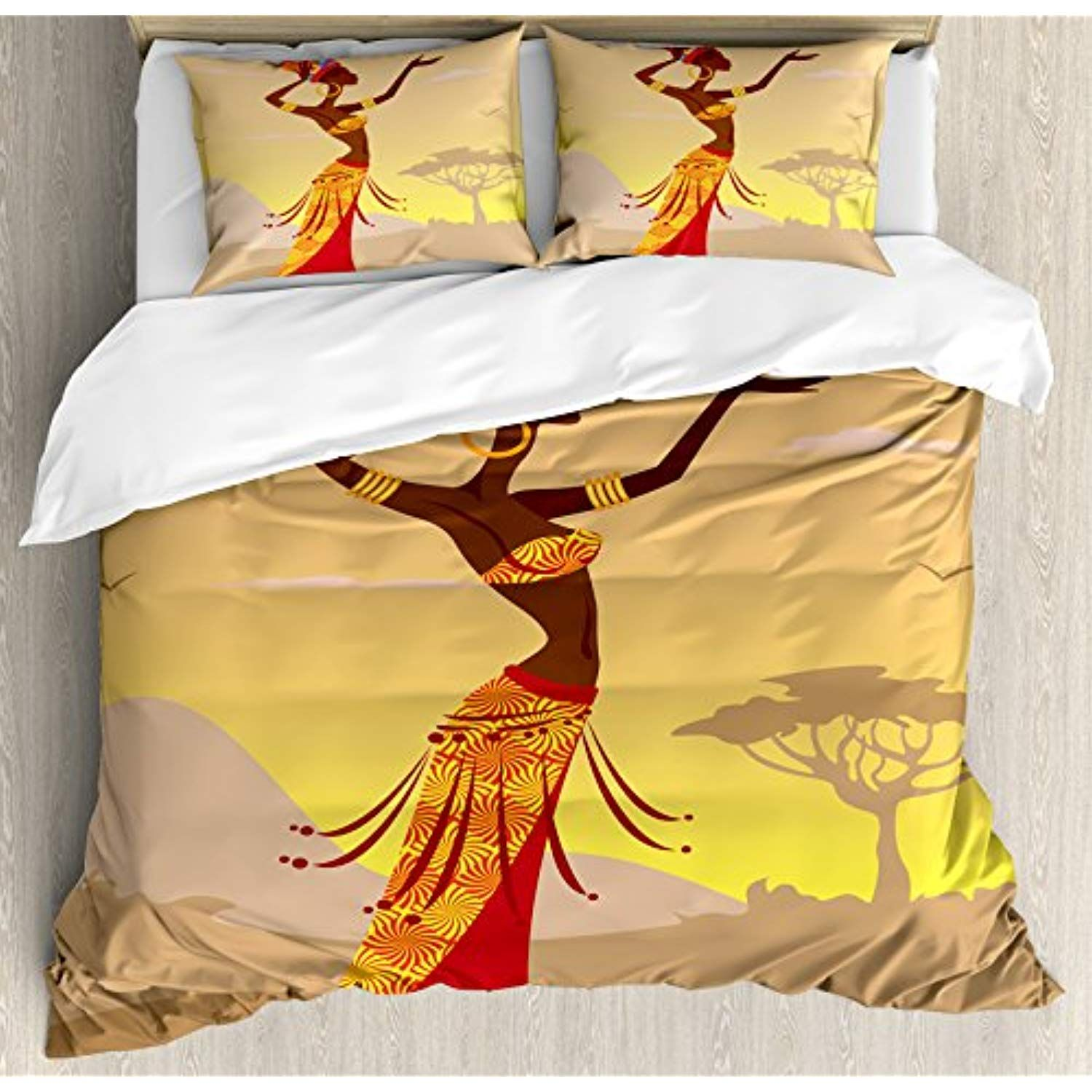 Ambesonne afro decor duvet cover set african woman in desert with