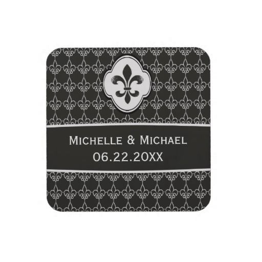 Personalized Black Fleur de Lis Chain Pattern Drink Coasters #fleurdelis #neworleanswedding
