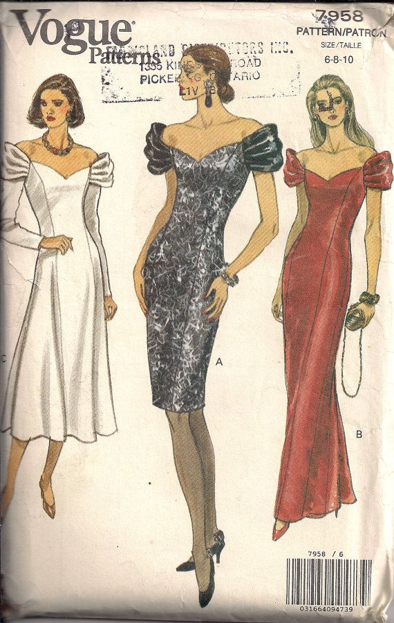 80s Off-the-Shoulder COCKTAIL DRESS Sewing Pattern Party Prom Dress ...
