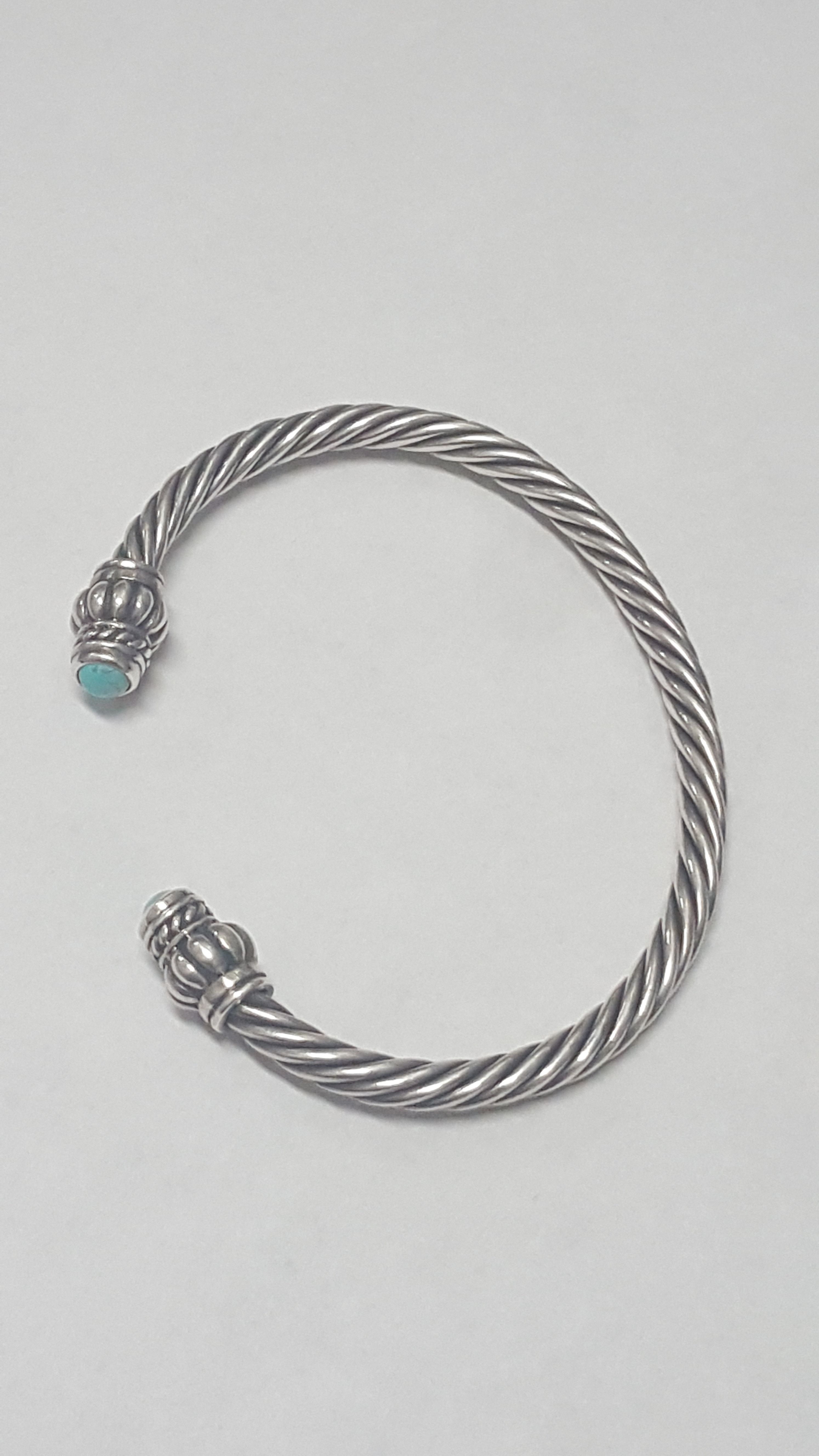 Vintage Sterling Silver and Turquoise Twisted Wire Cuff Bracelet ...