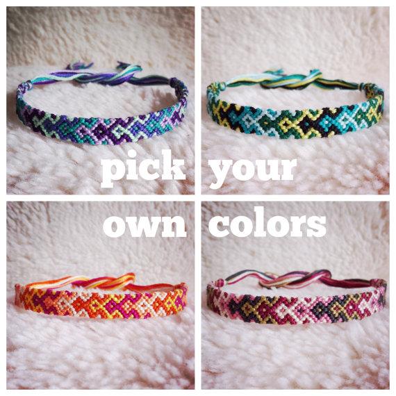 Friendship Bracelet Made To Order Braided Handmade Embroidery Floss Fiber Thin Graduated Arrowhead
