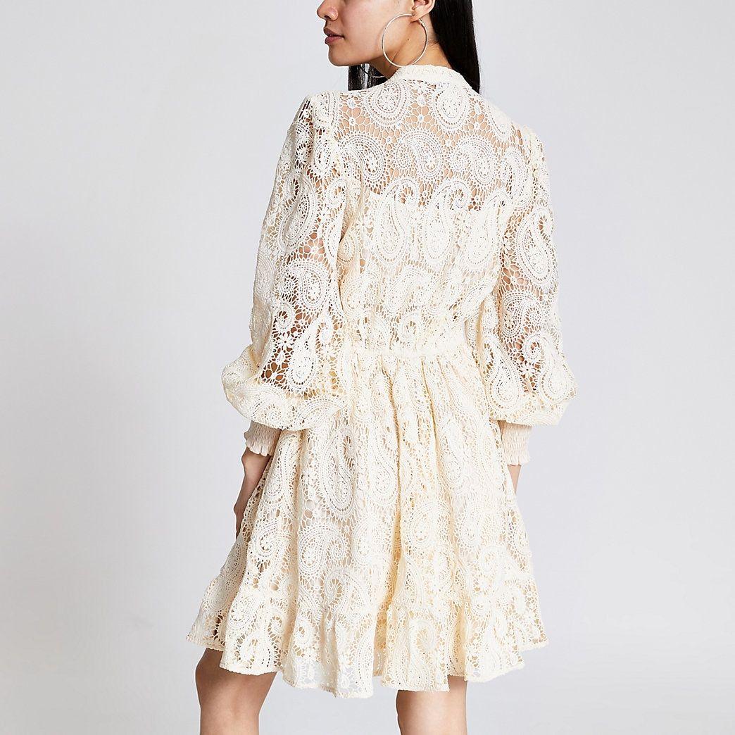 White Crochet Button Front Mini Dress River Island In 2020 Mini Dress Dresses White Mini Dress