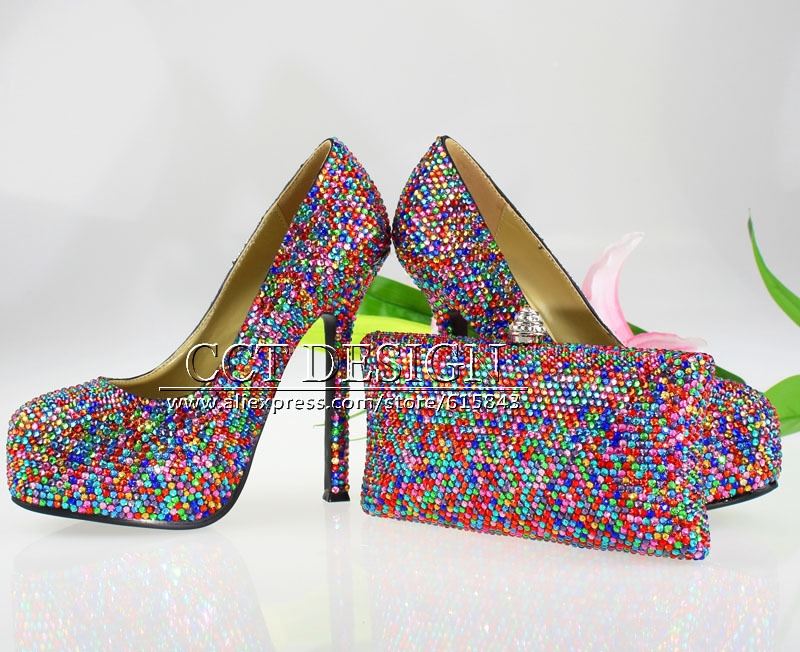 (201.28 ) Buy here - handmade customized 5.5inch colorful gold sky blue  multi-colors crystals and rhinestones wedding shoes and clutch 494e1d131891