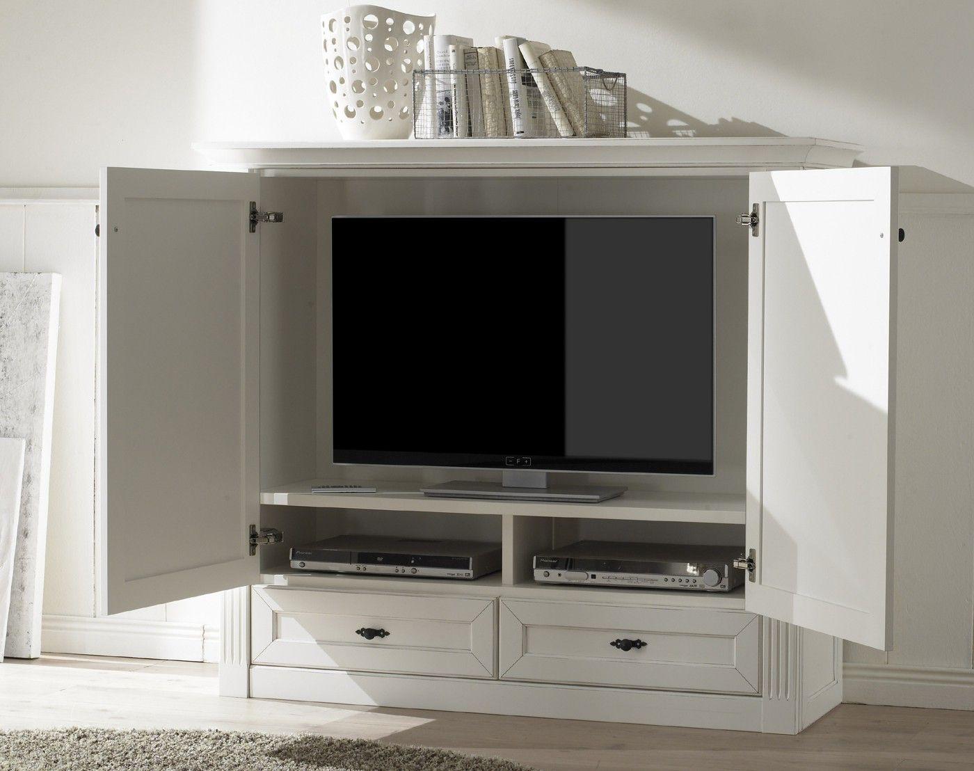 Tv Schrank Maisonette In Vintage Weiss Tv Mobel Geschlossen Tv