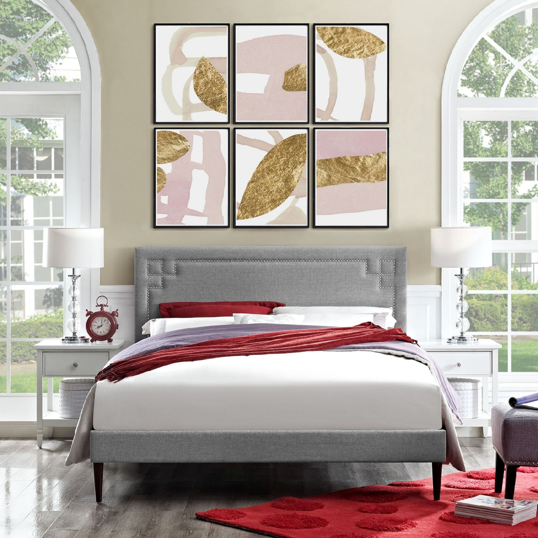 Modway Furniture 5666 Light Gray Queen Fabric Platform Bed
