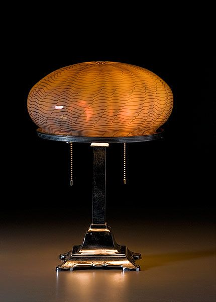 Attractive Bradley U0026 Hubbard Table Lamp With Art Glass Shade, Ca A Cased Opaque To  Iridized Amber Mushroom Shade With Combed Green Decoration, Supported On A  Signed ... Photo Gallery