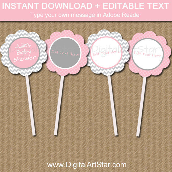 Pink And Gray Baby Shower Cupcake Toppers Editable Grey Printable Tags Bridal
