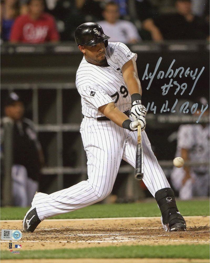 Jose Abreu Chicago White Sox Signed 8x10 Hitting Ball Photo W 14 Roy Insc Chicago White Sox Chicago White Sox Mlb Baseball