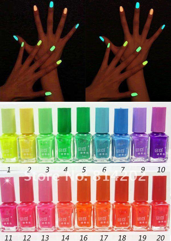 Fashion 20 Colors Fluorescent Neon Nail Art Polish Glow In Dark Nail ...