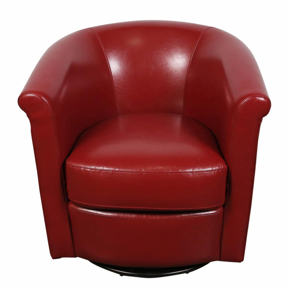 Marvel Contemporary Leather Look Swivel Red Accent Chair 01 33c 03
